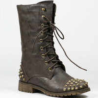 Studded Military Lace Up Mid Calf Combat Boot Nature Breeze Harley-10