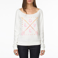 Van x Junk Food Always Love Too Off Shoulder Fleece, Women