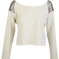 Sequin Shoulder Sweatshirt