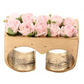 Rose Garden Double Finger Ring - Pink
