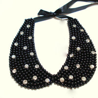 Peter Pan Collar Necklace, Black Collar Necklace, Beaded Embroidered Collar Necklace, Rhinestone