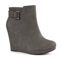 Wide Fit Grey Buckle Wedge Shoe Boots