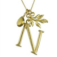 David Aubrey 18k gold plated initial necklace - N | Orange and Pear