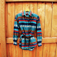 vintage southwestern button down multi color shirt. aztec pattern. tribal design. size M to L. oversized shirt