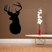 vinyl wall decal Deer head silhouette mounted buck rack design 1