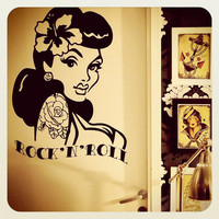 Old School Pin Up- Girl Wall Decal