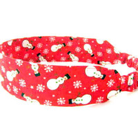 Snowman Snowflake Red Fabric Headband - Christmas Colors Winter Fun Festive red Green White Snow
