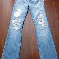 MISS ME Vintage Hippie Destroyed OAHI Boot Cut Jeans Womens Jrs Size 28 X 33