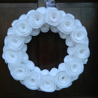 White Winter Wreath - White Felt Flower Wreath with Crystal Accents - 16 inch