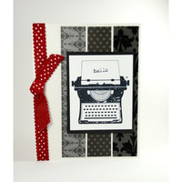A Typewriter With Message of Hello On This Handmade Greeting Card
