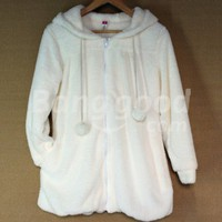2012 Women's Fashion Fluffy Hooded Pure Color White Winter Coat Free Shipping!  - US$14.93