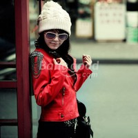 Female Short Design Tassel Epaulette Stand Collar Autumn Slim PU Jacket Free Shipping!  - US$22.06