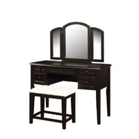 Amazon.com: Powell Antique Black with Sand Through Terra Cotta Vanity Mirror and Bench: Home & Kitchen