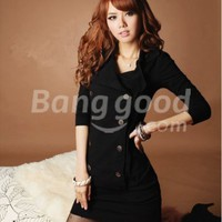 Latest Autumn Winter Cotton Double-breasted Personalized Double Collar Dress Free Shipping!  - US$14.54
