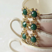 Sparkling Whispers Earrings in Emerald, Sweet Affordable Jewelry