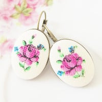 Purple Flower Earring -Vintage Purple Rose Needlepoint Antique Brass Lever Back Drop Dangles - Wedding, Bridal, Bridesmaid