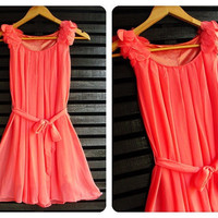 Flying Cutie Freshly Mini Dress Salmon Pink Toned by Thaiclothes