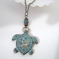 Turtle Pendant - Necklace by 636designs