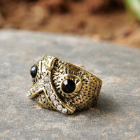 Vintage Inspired Cool Owl Dome Ring wholesale from online yiwu fashion jewelry market.