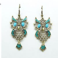 Vintage Inspired Rhinestone Cute Owl Dangle Earrings wholesale