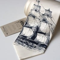 Clipper ship silkscreen silk necktie navy ink on by Cyberoptix