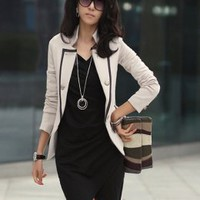 Modern Fashion Handsome Lapel Ladies Jackets Apricot : Wholesaleclothing4u.com
