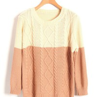 Vintage Contrast Color Diamond Knit Sweater