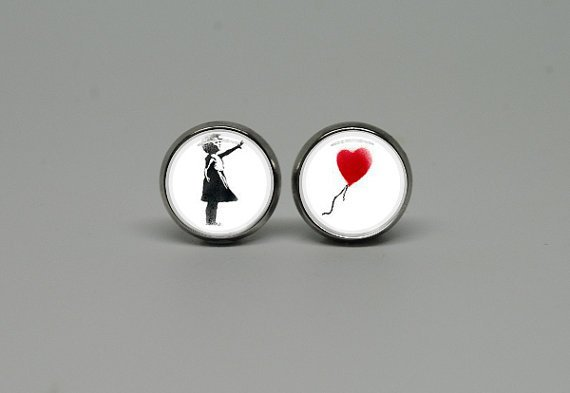 Silver Stud Post Earrings with Banksy Balloon Girl