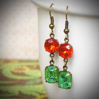 Lime Green and Tangerine Rhinestone Earrings, Dangle, Peridot, Poppy