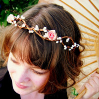 Rustic Rosebud woodland tiara by scarletmaiden on Etsy