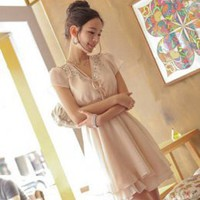 Fashion Crystal Rivet Decorated V-Neck Apricot Dresses : Wholesaleclothing4u.com