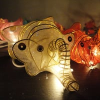 20 Elephants Mammoths Multi Colour Fairy Lights String 3.5M