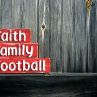 Custom Signs - SET OF 3 - Rustic Decor - Shabby Chic Sign - Family - Faith Sign - Football Sign - Gifts Under 50