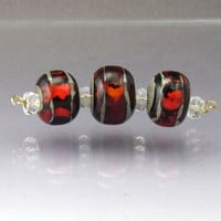 Handmade lampwork glass bead set Round Red Orange Stripes Sea Rocks Anne Londez  SRA OOAK
