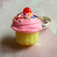 pink rainbow cupcake ring polymer clay