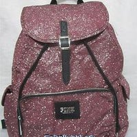 NWT VICTORIAS SECRET PINK BLING SPARKLE GLITTER PINK BACKPACK BOOK BAG