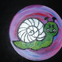 Snail Kids decorative wall art, childrens original painting, nursery art