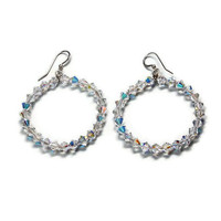 Oprah crystal hoop earrings handmade etsy jewelry