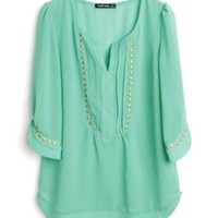 Mint Green V- Neck Studded Chiffon Blouse