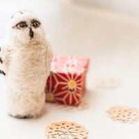 Snowy Owl Christmas Ornament - Needle Felted
