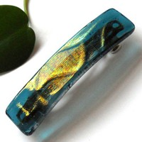 Handmade Hair Barrette with Iridescent Gold and Blue Textured Glass