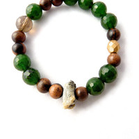 Boho Bracelet. green jade, hardwood, smoky quartz and raw crystalline quartz statement bracelet. unique. designer gift for her.