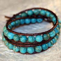 Genuine Arizona Turquoise Wrap Bracelet by StoneSource on Etsy