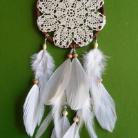 Dream Catcher - Doily - Bohemian - White, Brown - Modern