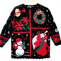 Shop Now! Ugly Sweaters: Vintage 80s Acrylic Tacky Ugly Christmas Sweater Women's Size Medium/Large (M/L) $35 - The Ugly Sweater Shop