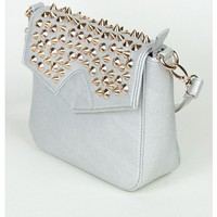 Silver Stud Flap Shoulder Bag  | Sugar and Sequins