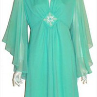 Vintage Green 70s Dress Angel Sleeves