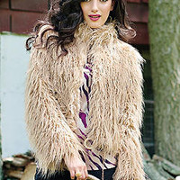Camel Mongolian Lamb Faux Fur Fashionista Jacket | Fabulous-Furs