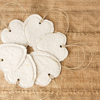 Handmade Paper Heart Gift Tags, White Sage, Set of 6