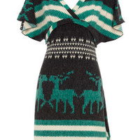 Green deer stripe dress - View All  - Dresses  - Dorothy Perkins